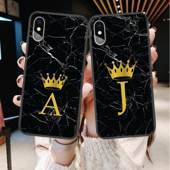 Custom name Letter Monogram Black Marble Gold Crown Soft Phone Case For iphone