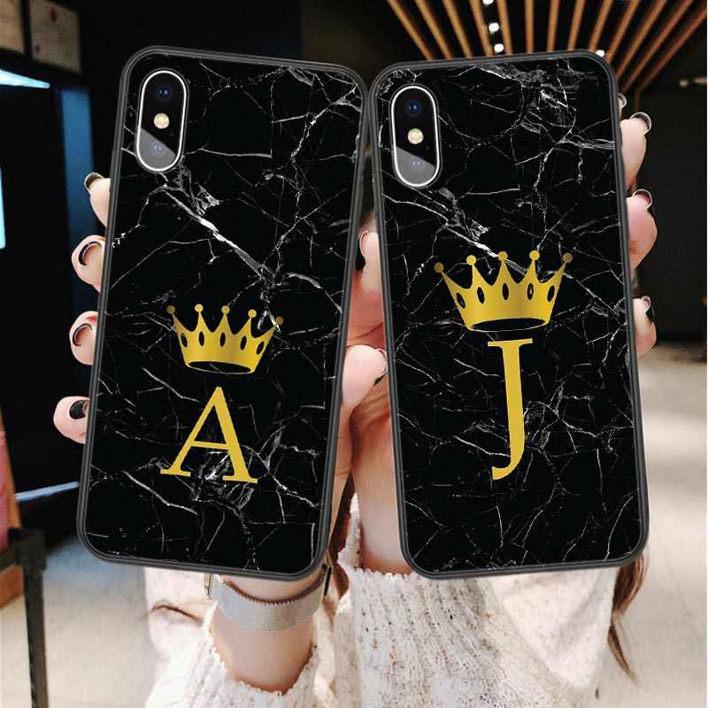 Custom name Letter Monogram Black Marble Gold crown Soft Phone Case For iphone 11 Pro Max 2019 X 6 6s 7 7Plus 8 8 plus XS Max XR
