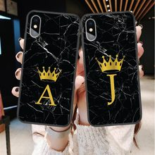 Nome personalizzato Lettera Monogram Nero Marmo Gold crown Cassa Del Telefono Morbida Per iphone 11 Pro Max 2019X6 6s 7 7Plus 8 8 più XS Max XR(China)