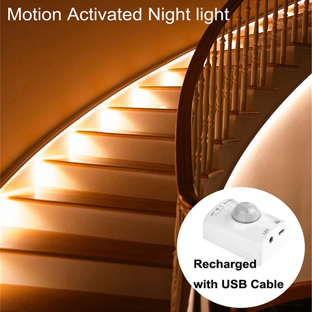 Motion Sensor Led Light Activated Bed Strip Night Illumination With Automatic