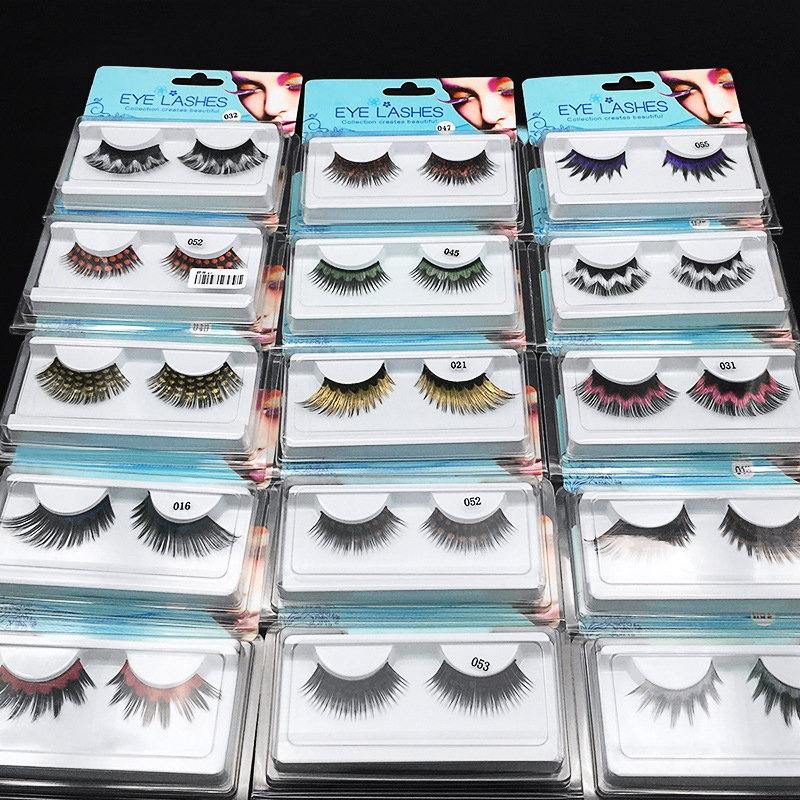Natural And Soft Color False Eyelashes Stage Performance Art Studio Makeup Eye Lashes Colorful Thick Fake Eyelashes