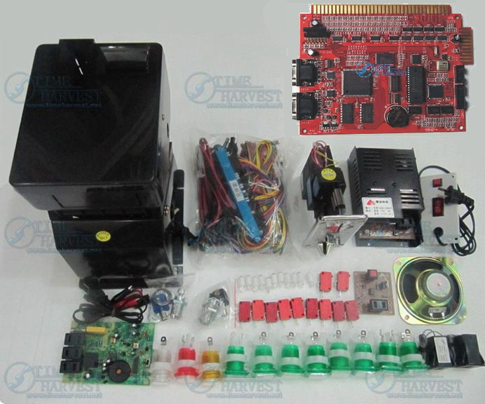 Solt game kits with the 9 in 1PCB, Coinhopper, coin acceptor, buttons, harness for casino slot game machine same as the photo wms 550 casino game pcb gambling board 8 lines must use touch screen play the game support bill accepter for slot game machine