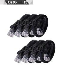 6pack 1.5m 5FT cable CAT6 Flat UTP Ethernet Network Cable RJ45 Patch LAN cable black/ blue / white color цена