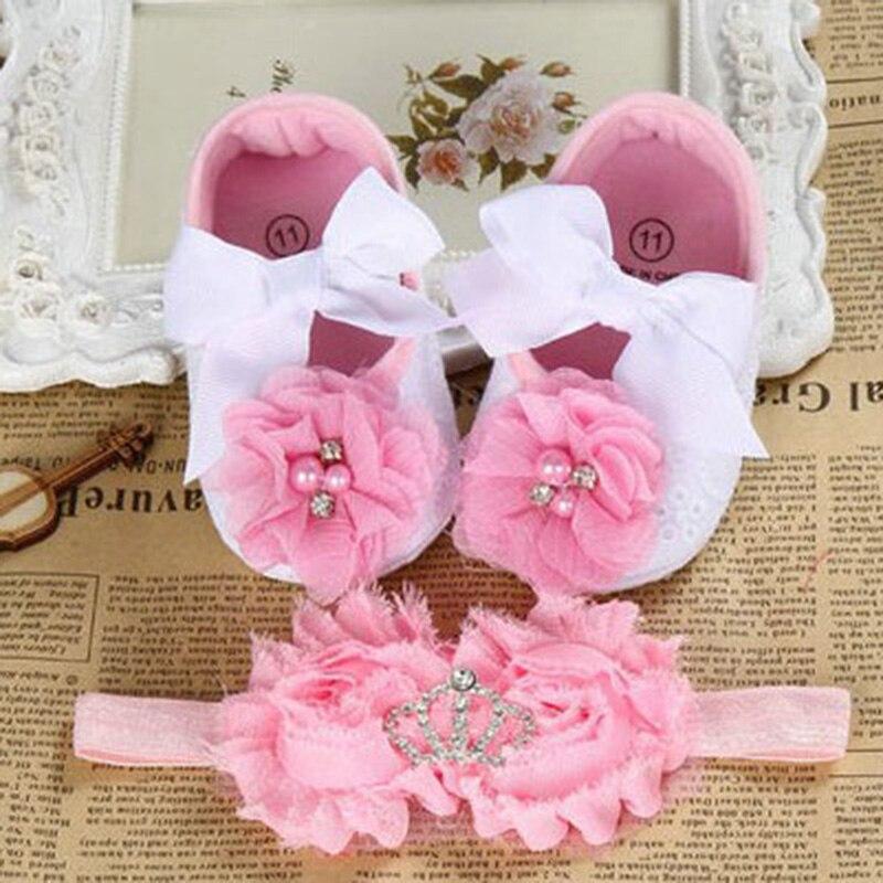 Dåb dåb nyfødte baby pige sko hovedband sæt toddler baby sko branded første walker, lille pige baby walker