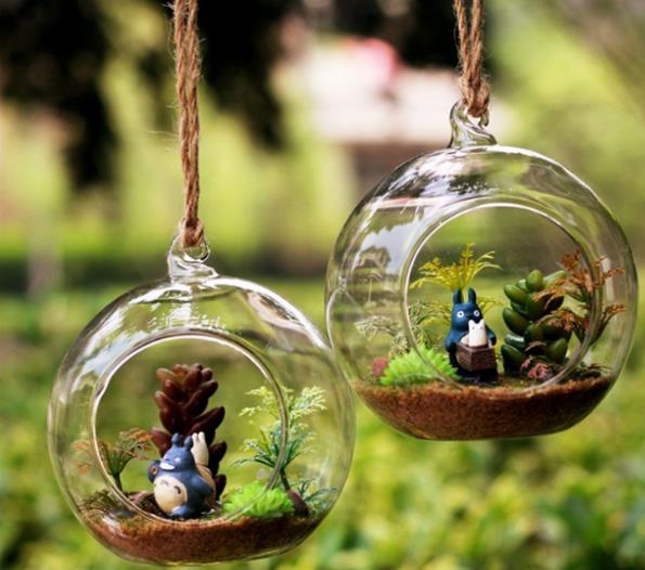 6pcs 6/8/10CM hanging round glass air plant terrariums bubble crystal balls flower globe vase for wedding ceiling decorations