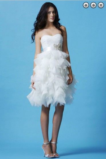 Free Shipping Dinner 2016 Hot Vestidos Formales New Fashion Knee-length Party White Brides Maid Wedding Dresses Detachable Belt