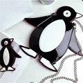 Мода пингвин мультфильм сумка кожа PU вскользь мягкий молния сумки милый мешок мини пингвин кошелек