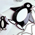 Fashion penguin cartoon messenger bag PU leather casual soft zipper handbag cute bag mini penguin purse