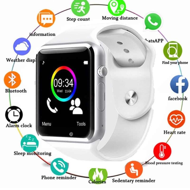 A1 Smart Watch Clock Sync Notifier Watch Support SIM TF Card Camera Bluetooth Connectivity Apple Iphone Android Phone Smartwatch