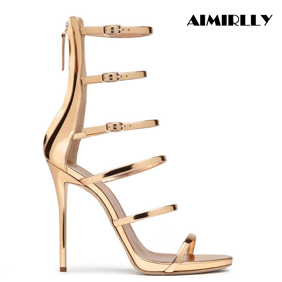 Aimirlly Women Shoes High Heel Stiletto Cover Heel Back Zipper Open Toe Rome style Sandals Strappy