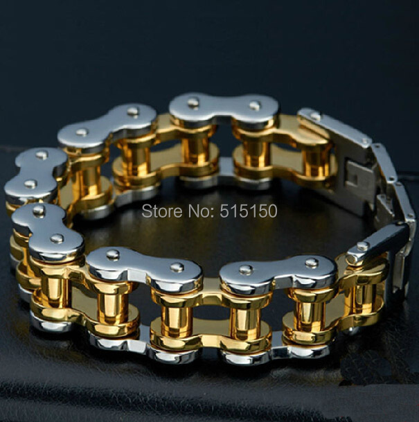 Fashion Jewelry Punk Heavy HUGE 316L Stainless Steel Bracelet Silver Gold Biker Bicycle Motorcycle Chain Mens Bracelets&Bangles trustylan shiny glossy 316l stainless steel mens bracelets 2018 20mm wide chain bracelets jewellery accessory man bracelet