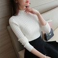 2017 fall fashion lace half Korean sweater slim lady turtleneck long sleeved sweater thickened sleeve head base XY1029