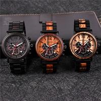 DODO DEER Men Watch Chronograph Calendar Stop Watch Wooden Luxury Stainless Steel Wristwatches erkek kuvars saatler C04