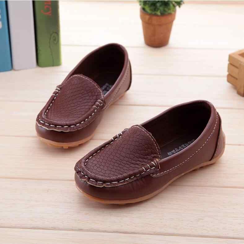 חדש אופנה ילדי נעליים כל גודל 21-36 ילדי עור מפוצל תינוק נעלי בנים/בנות סירת נעליים להחליק על רך