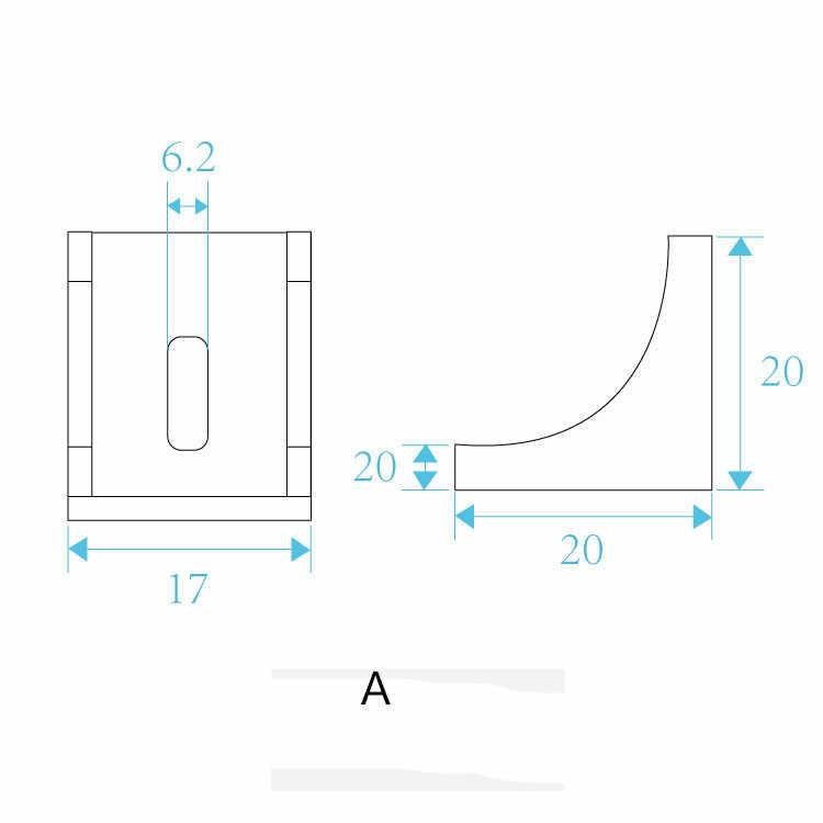 2020 ecke fitting winkel aluminium 17mm x 20mm L typ halterung verschluss für profil 10 stücke