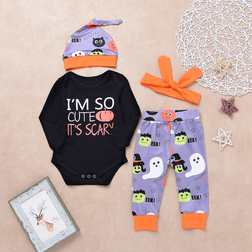 Halloween Baby Sets for New Born Unisex Clothes Outfits Fashion Romper + Pants + Caps + Headband Toddler Infant Costume Children