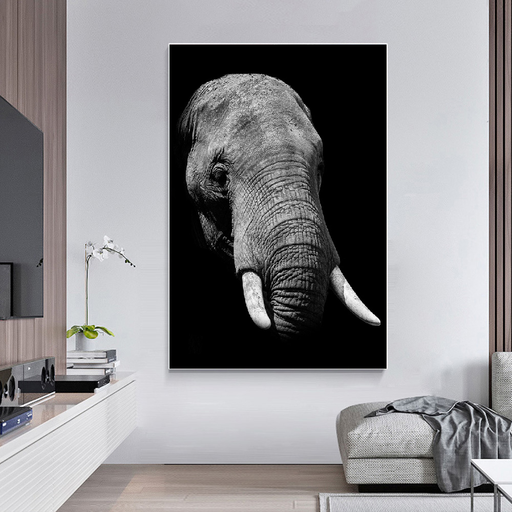 Animal Wall Art Elephant Giraffe Canvas Painting Black and White Poster Print Decoration Wall Picture for Living Room Home Decor in Painting Calligraphy from Home Garden