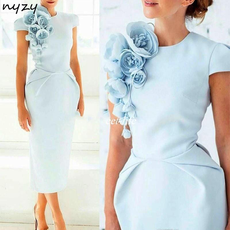 NYZY C4 Elegant 2019 Robe Cocktail Formal Dress Tea Length Handmade Rosettes Light Blue Satin Dress For Wedding Party Homecoming