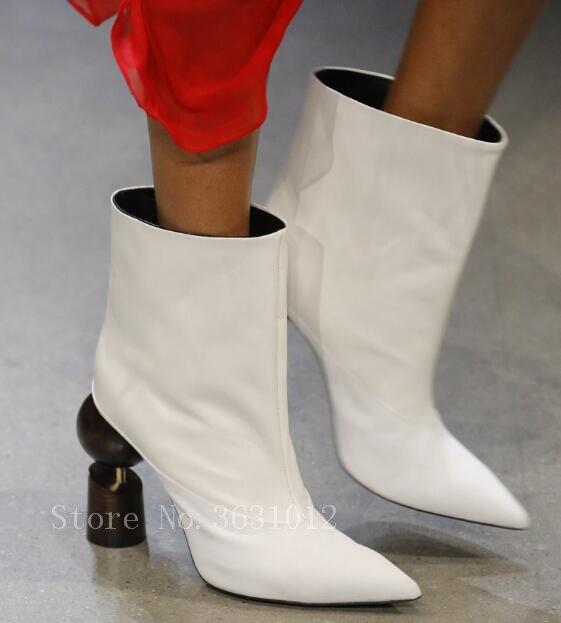 Estilo De Patchwork Deslizamiento Mujeres Pic Tamaño Tobillo Tacones Zapatos Botas Altos Señoras as Calientes En Oro 2018 Extraño Pic As Cordón Pista 45 35 6vqxIacwC
