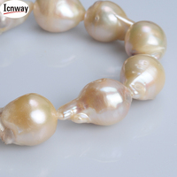 Natural AA pink reborn keshi drop Freshwater Pearl 16*12mm 15inches DIY necklace bracelet earring FreeShipping Wholesale icnway