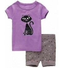 Купить с кэшбэком Purple Cat Girls Clothes Sets 2y-7y Girl Summer Pajamas 2017 Short Sleeve T-Shirt Pant Set Children's Pijamas