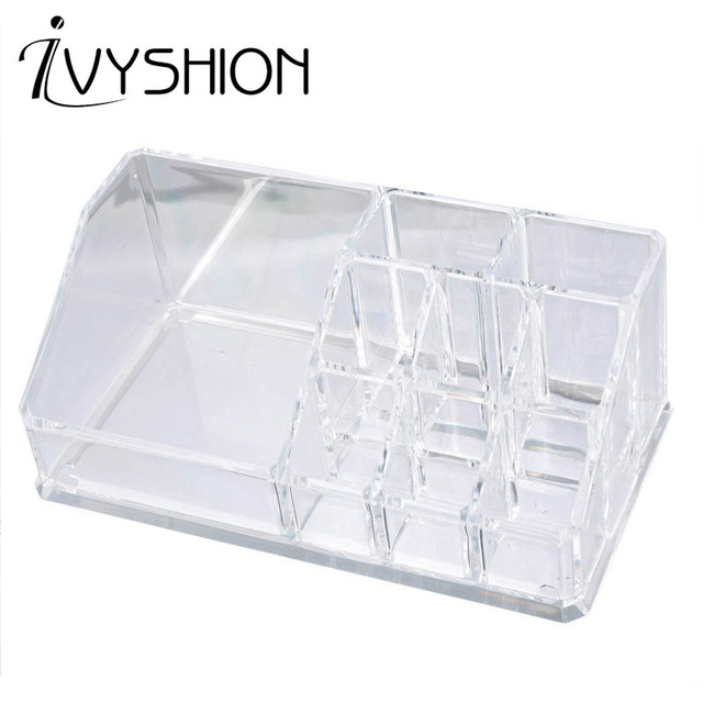 e83b958d8416 IVYSHION Transparent Makeup Organizer Women Cosmetic Lipstick Holders  Plastic Storage Box Jewelry Container Toiletry Organizer
