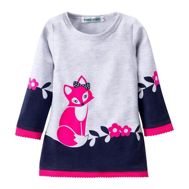 Платье для девочек детская одежда 2017 Брендовое осеннее платье принцессы детская Туника животных печати Обувь для девочек Джерси платья с длинным рукавом детей