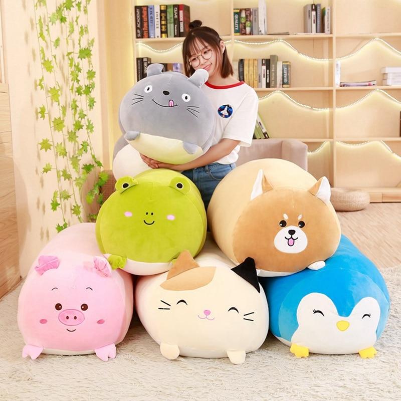 30-90 cm juguetes de gran tamaño suave cojín almohada animales perro gordo gato Totoro pingüino cerdo rana de peluche de juguete peluche niños regalo Birthyday