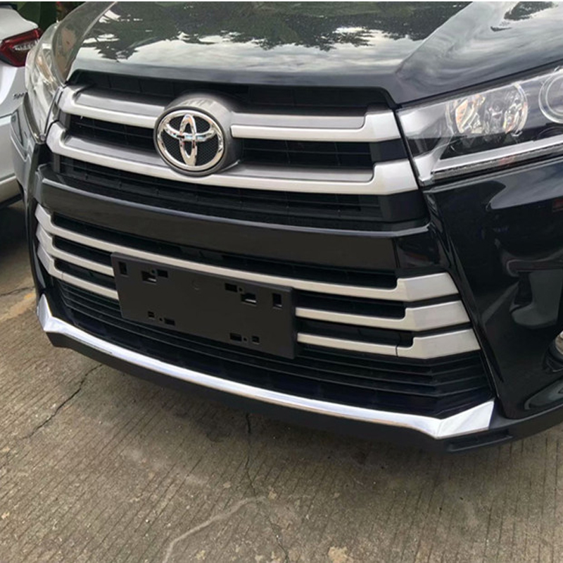 ABS Chrome Car Front Grid Grill Grille frame trim bumper plate strip 1pc For Toyota Highlander 2018 2019ABS Chrome Car Front Grid Grill Grille frame trim bumper plate strip 1pc For Toyota Highlander 2018 2019
