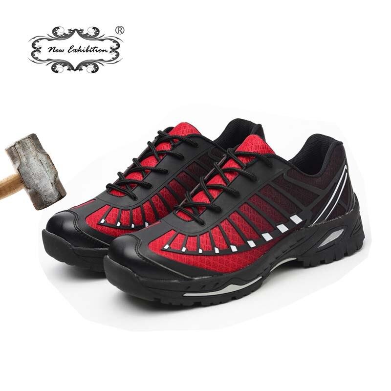 Новая выставочная Мужская Уличная Рабочая обувь со стальным носком, Повседневная модная дышащая обувь с защитой от ударов и проколов, армей...