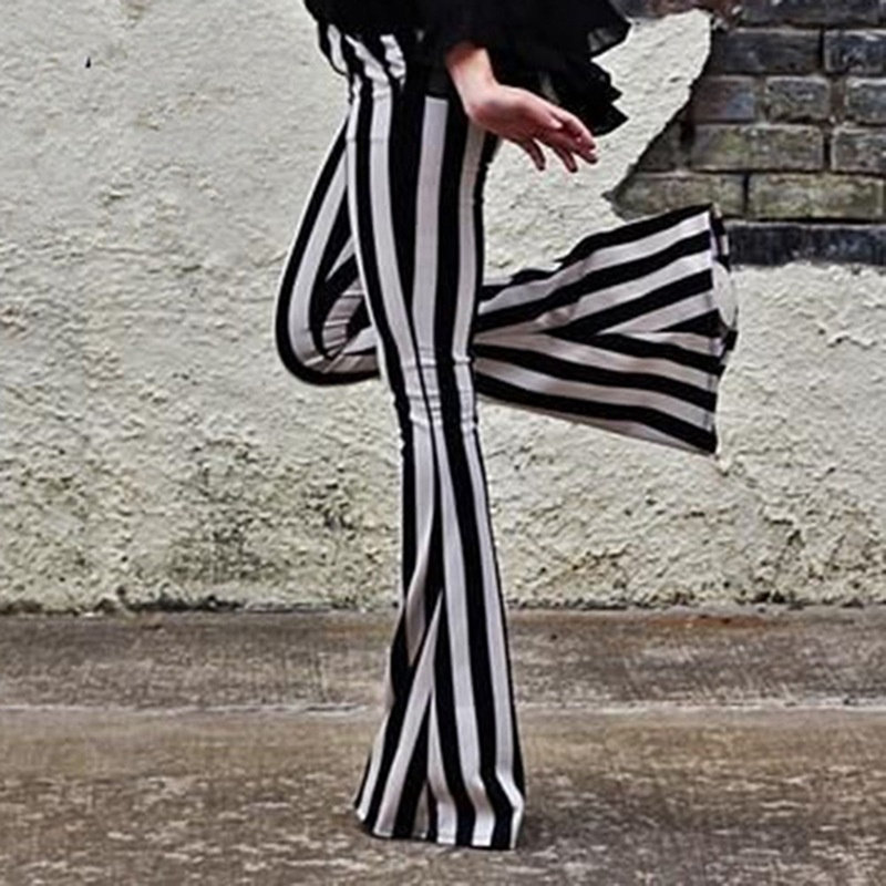 Striped Wide Leg Pant For Women Elastic High Waist Large Size Long Trouser Autumn Female 2019 Fashion Flare Pants OL Clothes