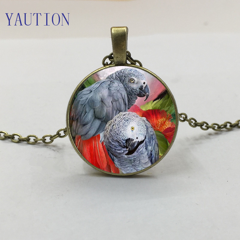 New Congo African Red Tail Grey Parrot Pendant Necklace Bird Gift Idea Jewellery