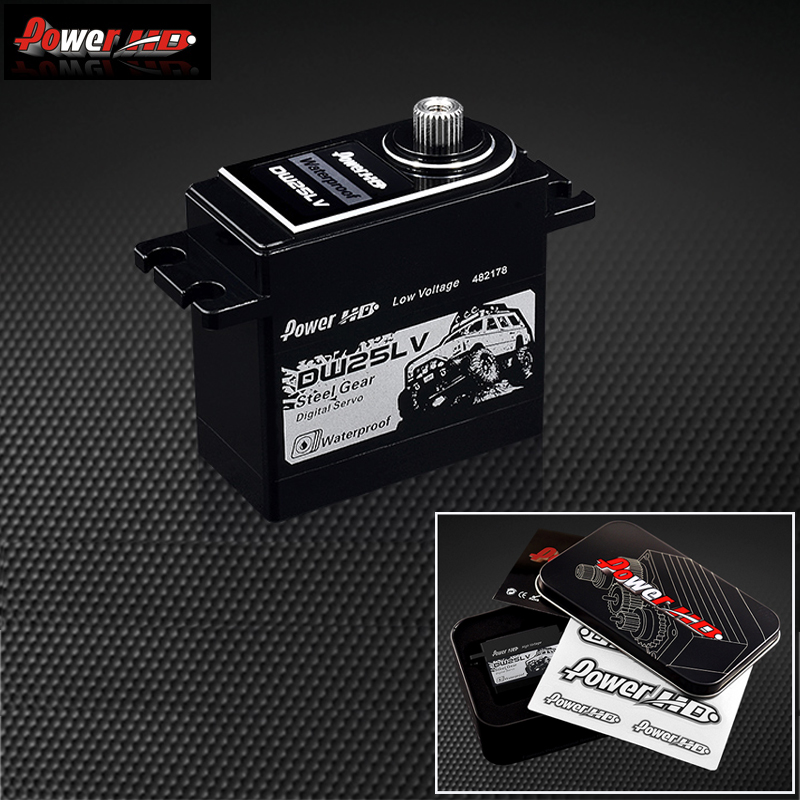 1pcs Power HD DW-25LV High Voltage 25Kg High-Speed Metal Gear Servo High Voltage Servo Waterproof for 1/10 RC Crawler Car Max 6V power hd 3689mg high speed servo for 500 helicopter black red