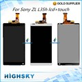 Black White For Sony Xperia ZL L35h C6603 C6602 LCD Display With Touch Screen Digitizer Assembly 1 Piece Free Shipping