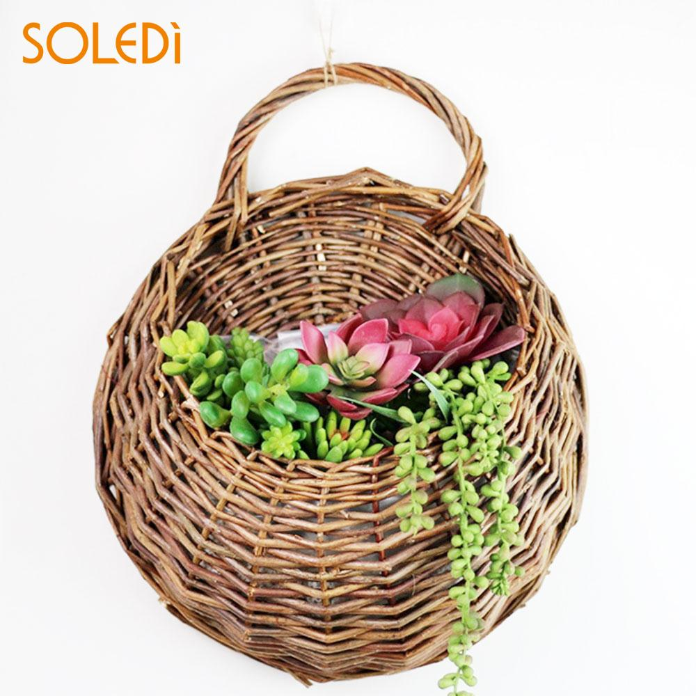 Us 3 71 11 Off Rattan Vase Basket Handmade 23 18cm Wicker Hanging Planter Nest Flower Pot Eco Frendly Container Wall Decor In