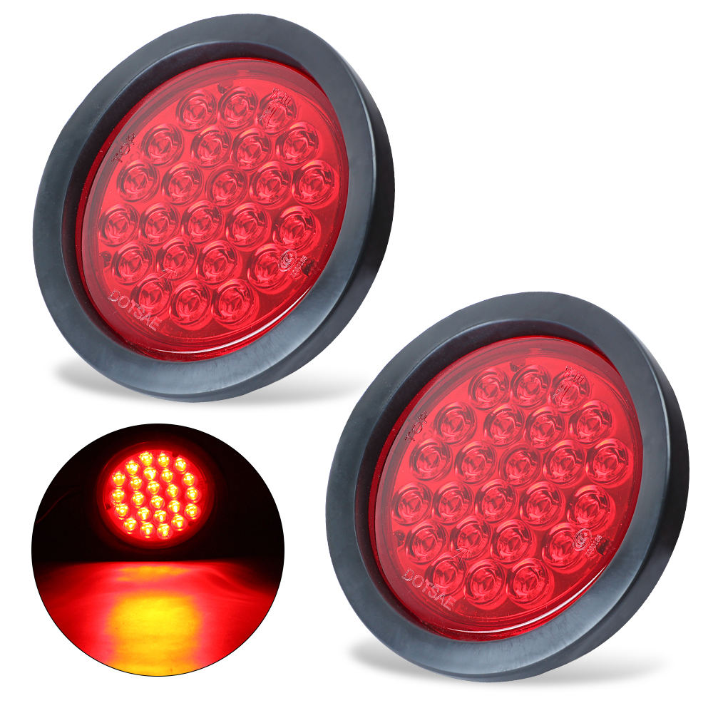 Keyecu 2x Amber Red White 4 Round 24 Led Trailer Tail Light Kit Accessories Truck And Lights Super Bright Leds Dot Certified Stop Turn Brake Reverse Back Up In Signal Lamp From Automobiles