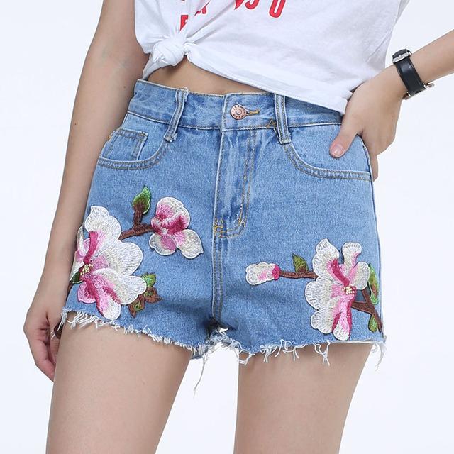 ForeMode Bordado de Las Mujeres de Los Cortocircuitos de Las Señoras Flor Floral de La Moda Pantalones Cortos de Verano Pantalones Cortos de Mezclilla de Cintura Alta Ripped Shorts