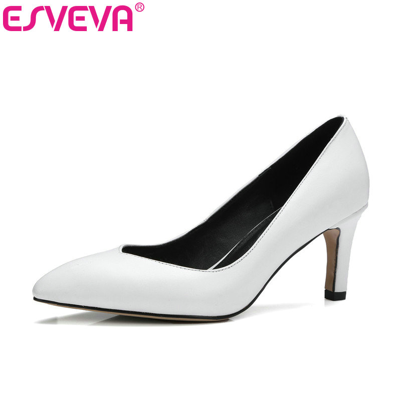 ESVEVA 2017 Women Pumps Concise White Black OL Shoes Thin High Heel Pump Real Leather Pointed Toe Wedding Women Shoe Size 34-39