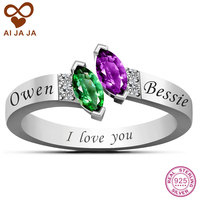 Real 925 Sterling Silver Customized Birthstone Rings Personalized Engraved Name Marquise Birthstones Promise Rings For Women