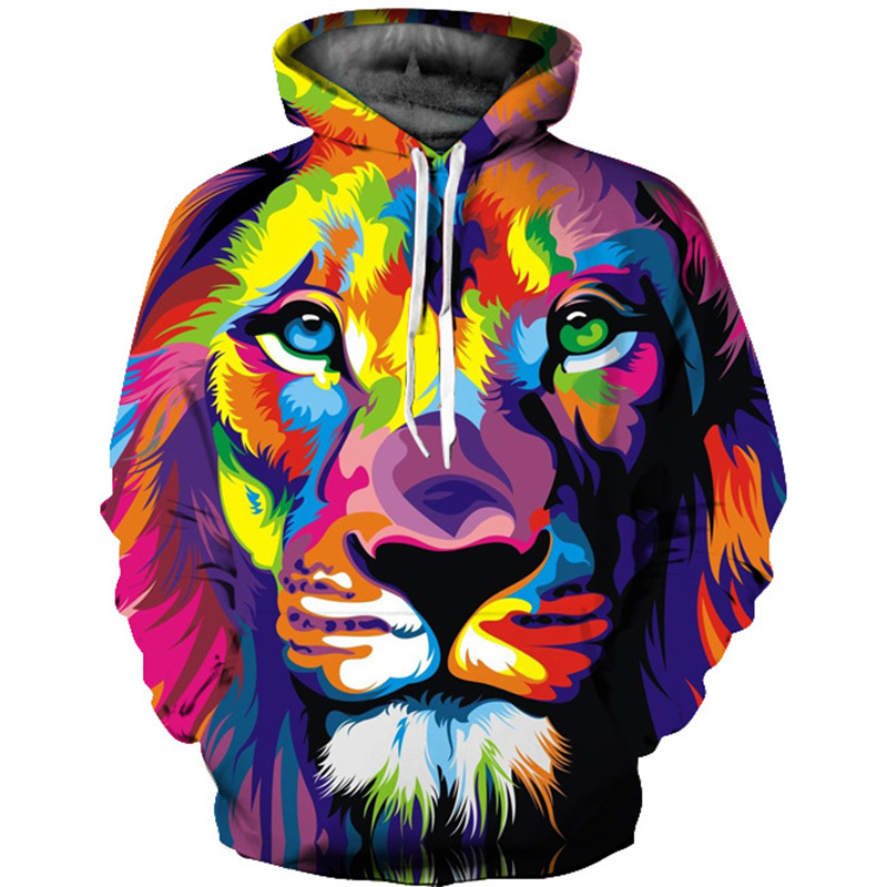 5 Style Animal Lion 3D Printed Sweatshirts Men Woman Hoodies Fashion Leisure Loose Thin Hooded Hoody Tops tracksuits