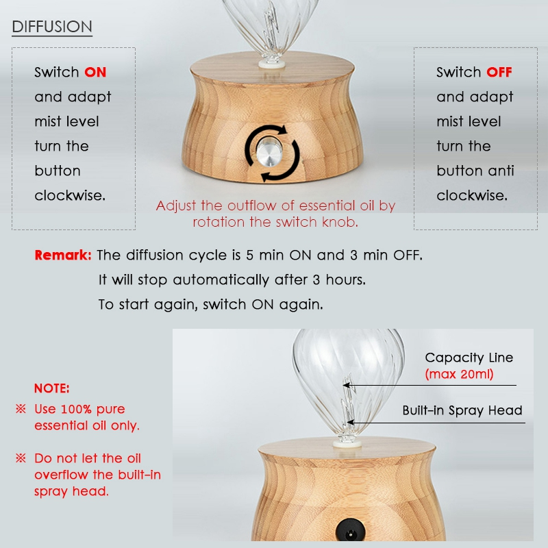 Waterless Essential Oil Diffuser Wood And Glass Aromatherapy Diffuser Aromatherapy Essential Oil Nebulizer For Home Eu Plug
