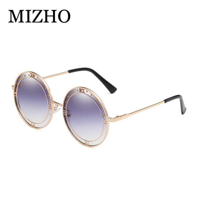 MIZHO Trendy Transparent Green Lens Sunglasses Women Round High Quality UV400 Real color Hip Hop Mens Korea Glasses For Mujer