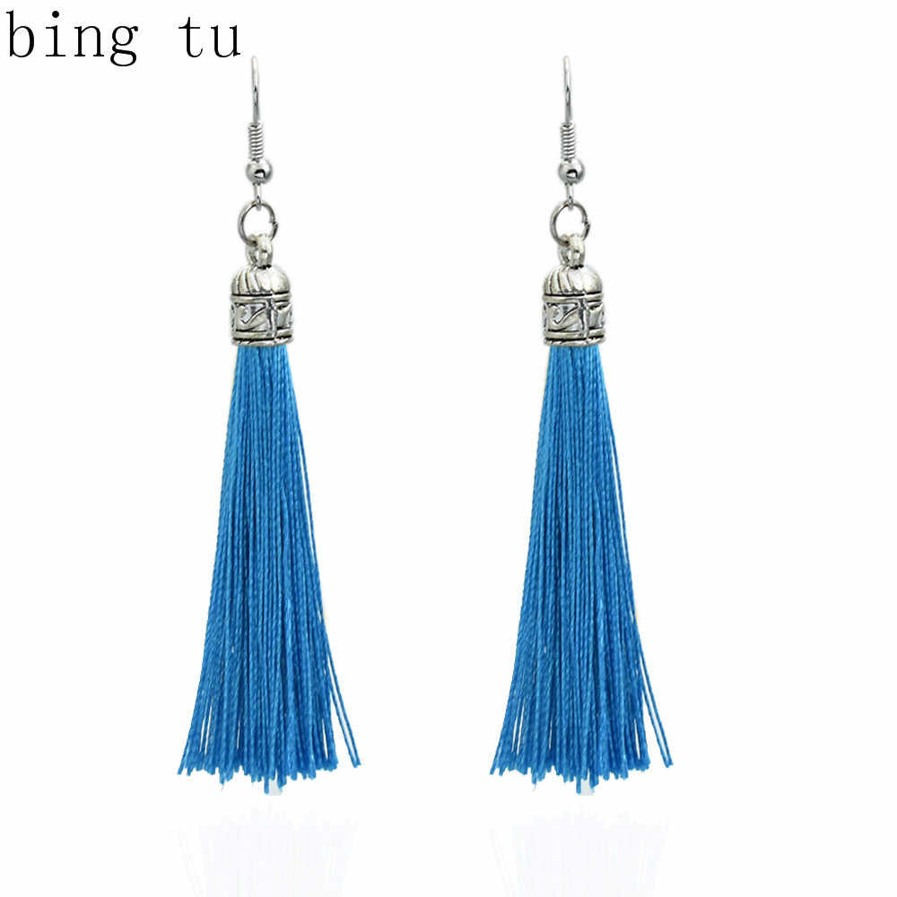 Bing Tu Vintage Earring For Women Bohemia Long Tassel Drop Dangle Earrings White Green Purple Silk Fabric Earings Ethnic Jewelry