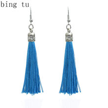 Bing Tu Vintage Earring For Women Bohemia Long Tassel Drop Dangle Earrings White Green Purple Silk Fabric Earings Ethnic Jewelry(China)