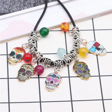 Sugar Skull Pendant Necklace Fashion Punk Colorful Unisex Choker Crystal Beads Jewelry Party Accessories Gift 1Pc(China)
