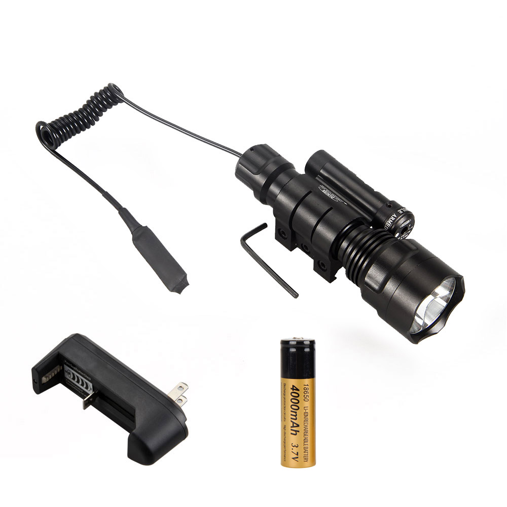 Top Quality 3000Lm C8 XM-T6 LED Hunting Torch Lamp+Red Laser Dot Sight+Pressure Switch+18650 Battery