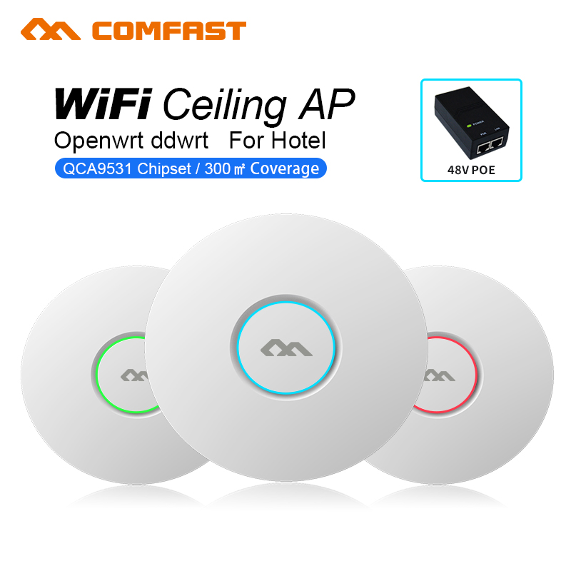 ФОТО Wifi cover home COMFAST 300Mbps Ceiling Wireless AP 802.11b/g/n WiFi Indoor AP QCA9531 with 16 Flash 48V POE Access Point CPE ap