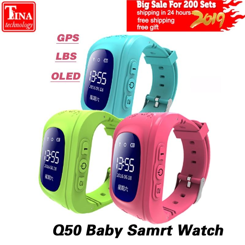 Q50 OLED pantalla GPS inteligente chico reloj llamada SOS ubicación localizador del buscador de Tracker para Childreb Anti perdido Monitor bebé reloj de pulsera