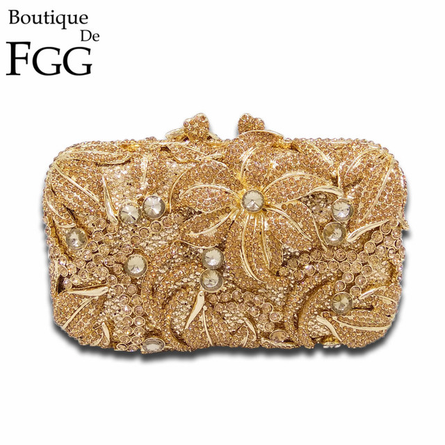 Gold Floral Appliques Hollow Out Crystal Evening Bags Metal Clutches Bag Wedding Bridal Handbags Ladies Rhinestones Clutch Purse