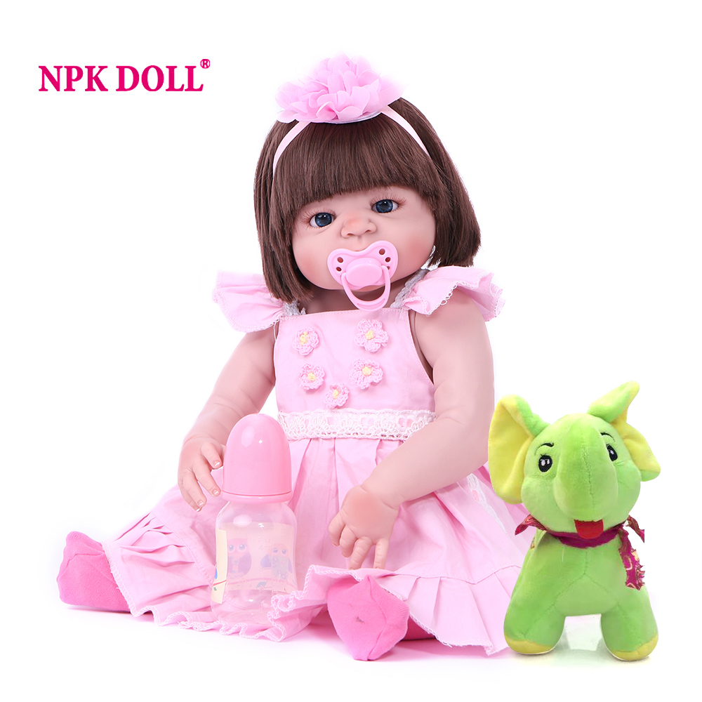 NPK DOLL 55 CM Full Vinyl Reborn Baby Doll Toys For Kids Reborn Full Silicone Newborn Doll boneca reborn silicone completa menin gracefull side bang short fluffy wavy synthetic brown mixed wig for women